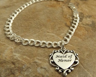 Sterling Silver Maid of Honor Charm on a Sterling Silver Traditional Charm Bracelet - 1756