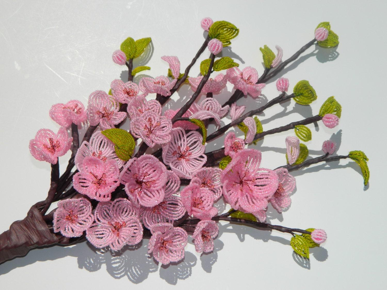 cherry blossom beaded flower arrangement bouquet