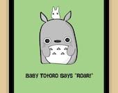Baby Totoro Nursery Art Miyazaki Ghibli modern print poster