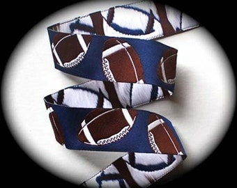 Footballs on Blue Jacquard Ribbons - 1""