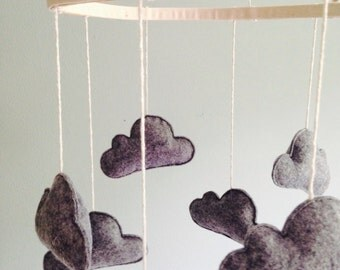 Gender Neutral Nursery Mobile, Gray Wool Felt Cloud Mobile, Handmade Nursery Mobile, Cloud Mobile, olive + bo mobile