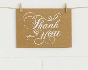 """3x Rustic """"THANK YOU"""" card sets with matte white foil - 3 pack- sturdy 350gsm cards with matching recycled Kraft envelope"""