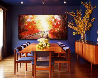 "24x48"" Large Original Painting / Made To Order - Autumn Leaves"
