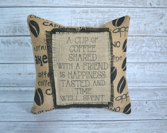 Burlap Coffee Lover Pillow