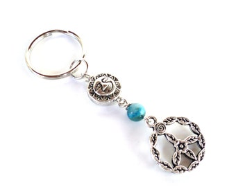 Peace and Sun Keychain Two Sided Moon Bag Charm Keyring Yoga Accessories Unique Gift For Her Christmas Stocking Stuffer Under 20 Item K98