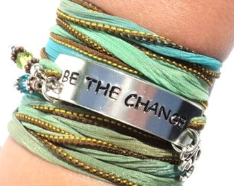 Be The Change Silk Wrap Bracelet Inspirational Word Quote Jewelry With Meaning Engraved Healing Unique Yogi Gift For Her Under 50 C33