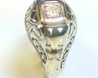 18k ANTIQUE DIAMOND RING - Fully Hallmarked & Stamped Solid White Gold - High Quality Round Old Mine Cut Natural Gemstone - Amazing
