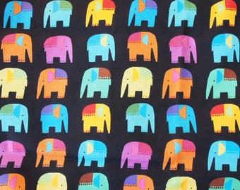 Colourful elephants on black cotton fabric - half metre