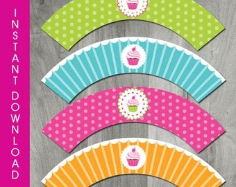 Cupcake Themed Cupcake Wrappers, INSTANT DOWNLOAD, Cupcake Birthday Party, Printable, Personalized, Digital Pdf File