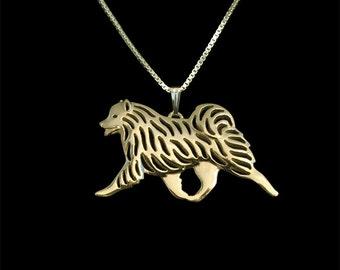 Samoyed movement necklace - gold.