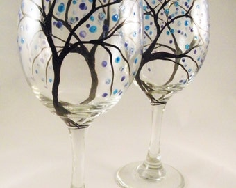 Hand Painted Christmas Wine Glasses - Watercolor Trees