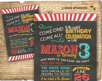 Circus invitation- Carnival party invitation - chalkboard circus birthday invitation - DIY printable invitation