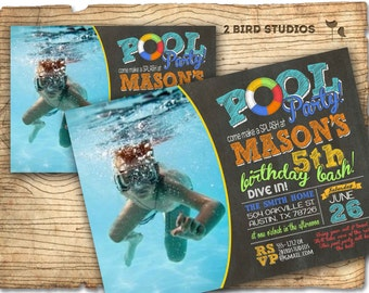 Pool party invitation - Chalkboard invite DIY printable pool party invitation - summer birthday inviation for pool party -
