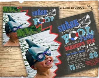 Shark invitation - Pool party invitation with shark - DIY printable pool party invitation - Shark infested pool party birthday