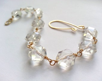 Crystal Statement Bracelet Golden Brass Beaded Links Faceted Lentil Crystal Beads Simple Elegant Special Occasion Modern Feminine Romantic