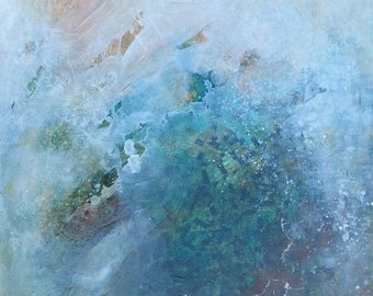 """Original Contemporary Abstract Mixed Media Painting on Canvas 24""""x48"""" Orange, Green, Teal"""