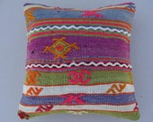 Handwoven Vintage Turkish Kilim Pillow Cover, Decorative Pillow, Accent Pillow,Throw Pillow, 16x16inch