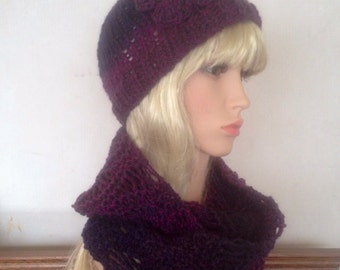 Hat and scarf set, Unique womens designer lace effect hand knit/crocheted purple wine cowl,scarf,beanie set, slouchy infinity neckwarmer
