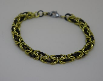 Peridot Green and Black Enameled Copper Byzantine Chainmaille Bracelet