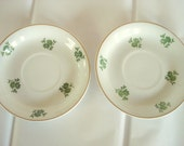 Vintage Saucers Arabia Made in Finland Set of 2 Green Floral on White