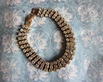 SALE Vintage Triple Strand Rhinestone Bracelet in Silver Tone, Bridal, Wedding, Engagement. Bridesmaid, Valentine's Day Gift for Her