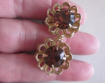 Vintage Sara Coventry Smoky Topaz Round Rhinestone Gold Tone Clip on Earrings, 1960's