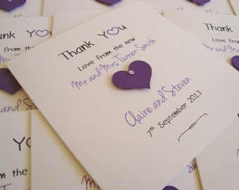 Personalised Wedding Thank You Cards (Pack of 10)