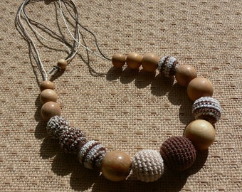 Biege and Brown Nursing or Teething Necklace / Crochet Necklace / Beige and Braun