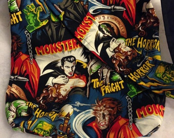 Monster Mash Classic Monster Dracula Frankenstein Werewolf  Mummy Classic Horror REVERSIBLE CrossBody Bag / purse