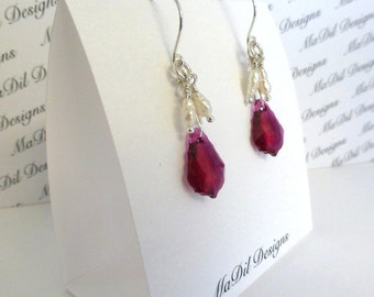 Swarovski Crystal Dangling Earrings Ruby Baroque Crystal Fresh Water Pearls Sterling Silver Ear Wires Fine Silver For Wrapping