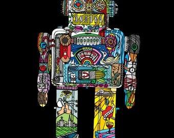 robot, robot tattoo , art, wall art, A4 giclee print