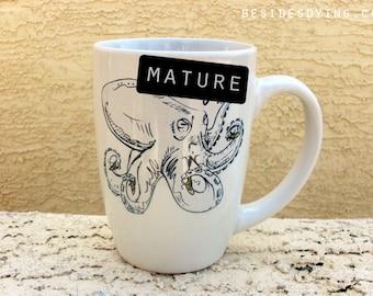 Sea Creatures Dirty Dishes mug-- octopus-- mature