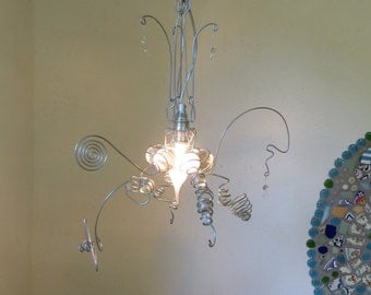 Colorless glass/wire Pendant light, hanging lamp, E14 fitting, handmade, transparent, LED/Halogen