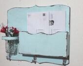 Large Mail Organizer, shabby chic, floral vase, mail holder, key hooks, mail holder, distressed, vintage, home decor,painted baby blue