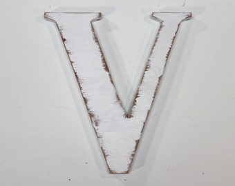 "Wooden letter ""v"" uppercase,12 inch, alphabet letters, wall hanging, nursery decor, vintage, rustic, cottage chic, painted Vintage White"