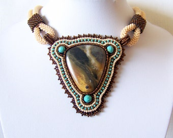 Statement Beadwork Bead Embroidery Pendant Necklace with Multi-Color Amazonite - AMBER SONG - Fall Fashion - Creamy - brown