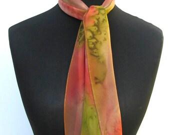 Silk Chiffon SCARF, Peach, Salmon, Green