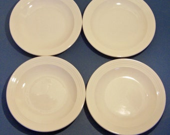 Homer Laughlin Hearthside Shape - Off White with Rings on Edge Restaurant Ware - Set of 4 Salad Plates (2 sets available)