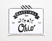 Screenprinted Bundesstaat Ohio Postkarte