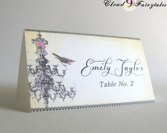 Wedding Place Cards - Folded Place Cards - Vintage Chandelier and Bird - Rustic - Tented Placecards Fancy Elegant
