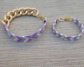 Mommy and baby Lavender, gray, white, and gold X chunky chain Friendship Bracelet