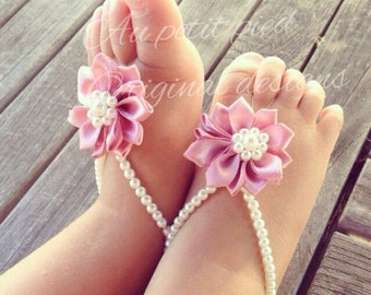 Baby barefoot sandals, baby shoes, newborn, baby jewelry, new mom gift, baptism gift, baby shower gift, infant , baby girl baptism