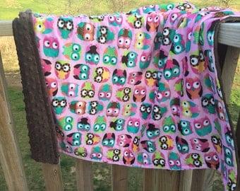 Double sided owl minky blanket