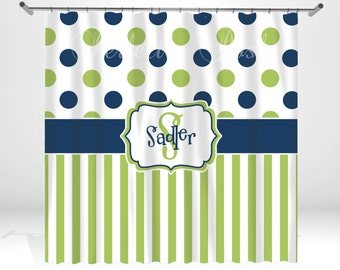 Stripe and Dot Personalized Custom Shower Curtain Monogram with Name or Initials perfect for any bathroom