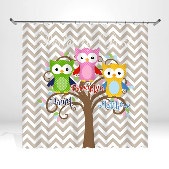 personalized owl shower curtain