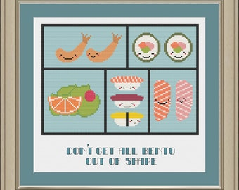 Don't get all bento out of shape: funny sushi cross-stitch pattern