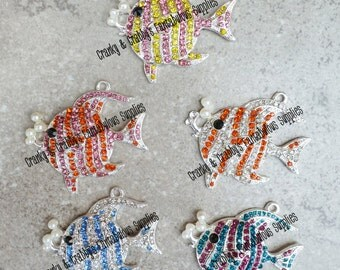 CLEARANCE  Rhinestone Cute Fish Pendant  -   Chunky Necklaces - 44mm x 45mm 5 color choices