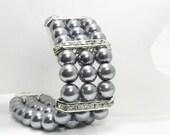 Gray Pearl Bridesmaid Bracelet, SALE, Multi Strand Grey Pearl Cuff Bracelet, Pearl Wedding Bridal Jewelry