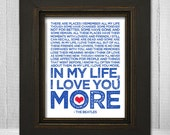 In My Life 8x10 - Beatles Song Lyric Print - The Beatles Music Art Print - Choose Your Background color