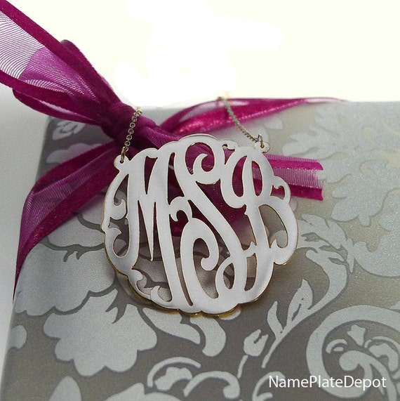 Silver Three Initial Monogram Necklace 33mm